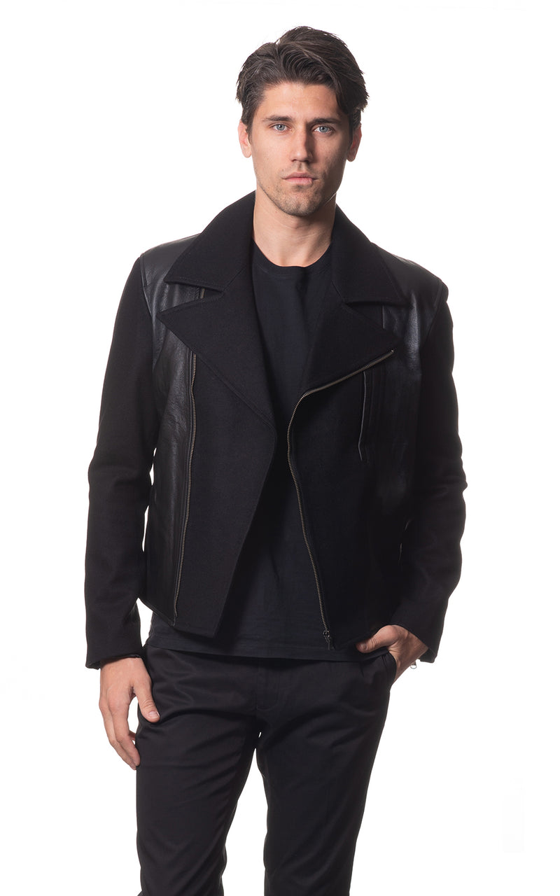 Mark wool jacket with leather panels