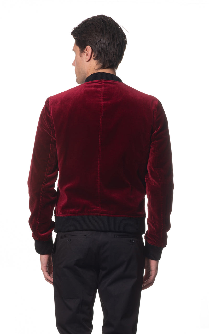 Amari Velvet Bomber Jacket - Red