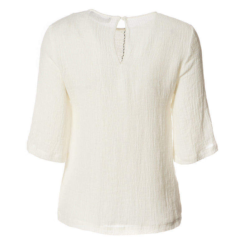 Hannah Crinkle Linen Top Off White