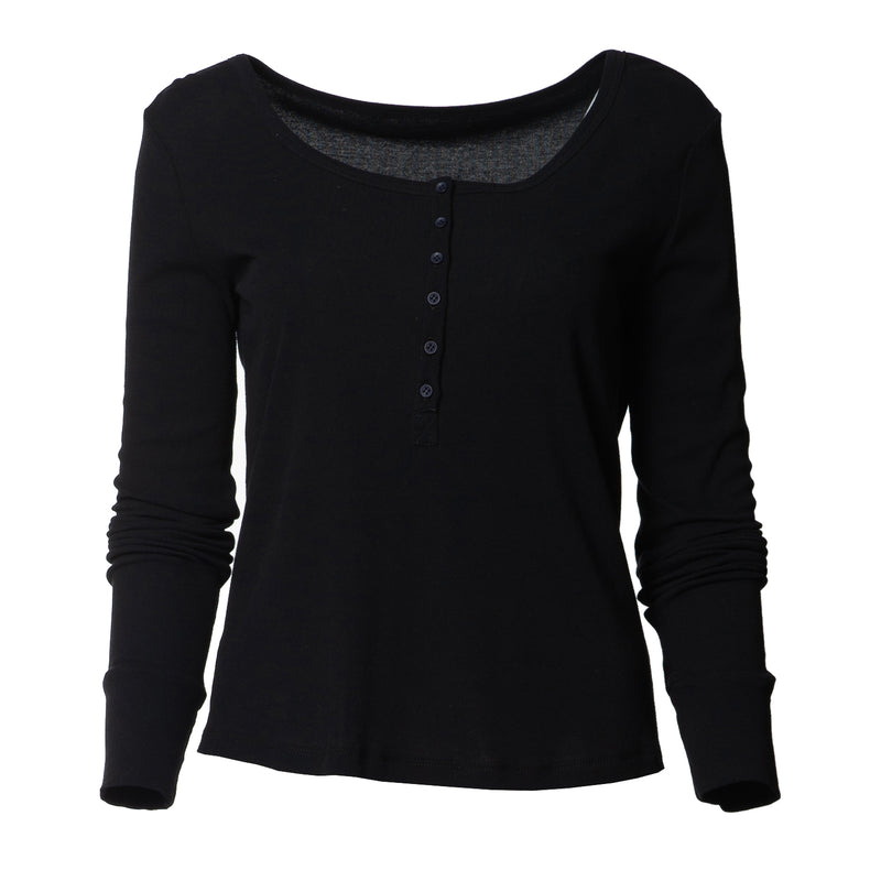 Louisa Everyday Henley Top Black/White