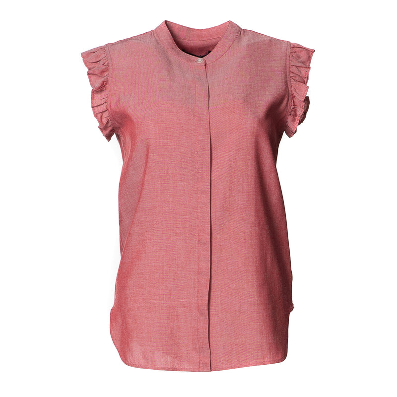 Cindy Frill Shoulder Cotton Top Red