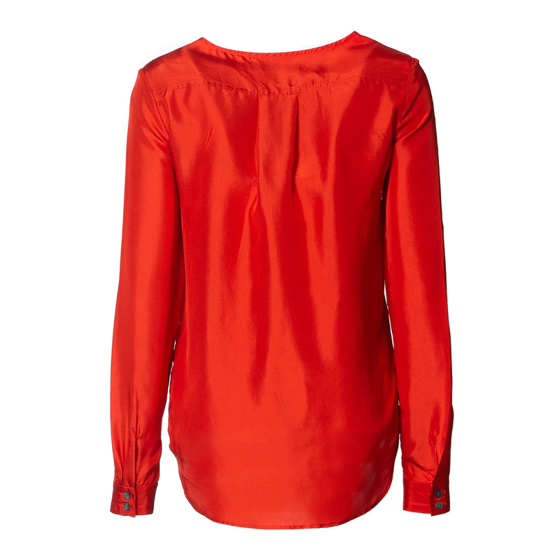 Hazel Silk Blouse With Pockets Poppy
