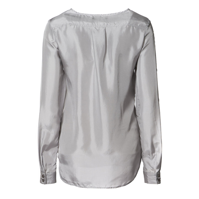 Hazel Silk Blouse With Pockets Silver