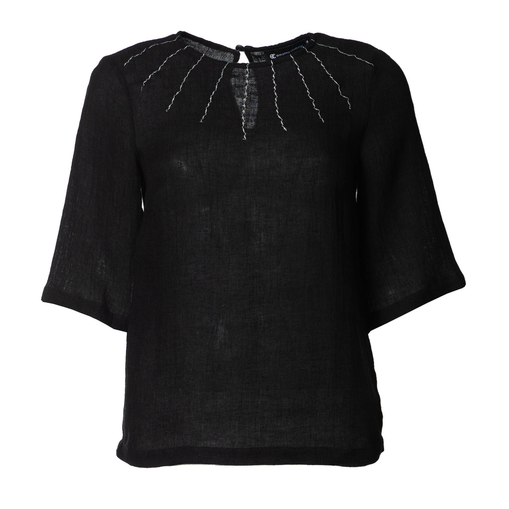 Hannah Crinkle Linen Top Black