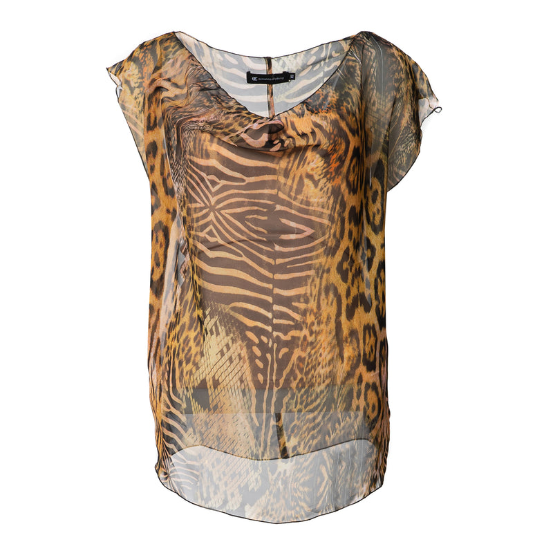 Animal Print Silk Top