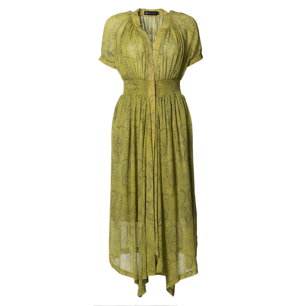 Harper Gather Waist Silk Dress Yellow Paisley