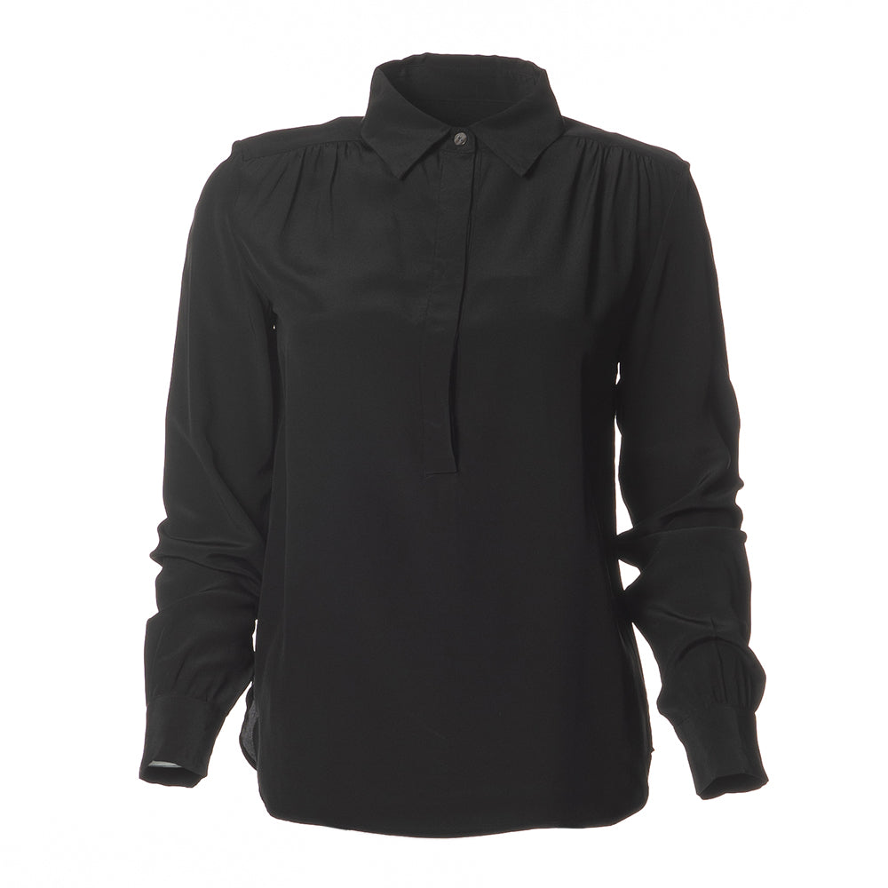Elena Silk Henley Blouse  Black