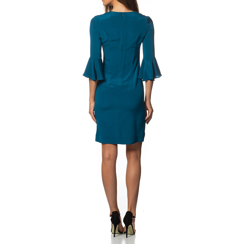 Emilia Ruffle Sleeve Tunic Dress Teal