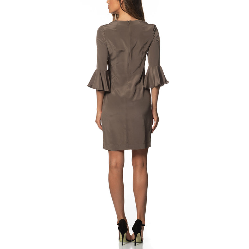 Emilia Ruffle Sleeve Tunic Dress Taupe