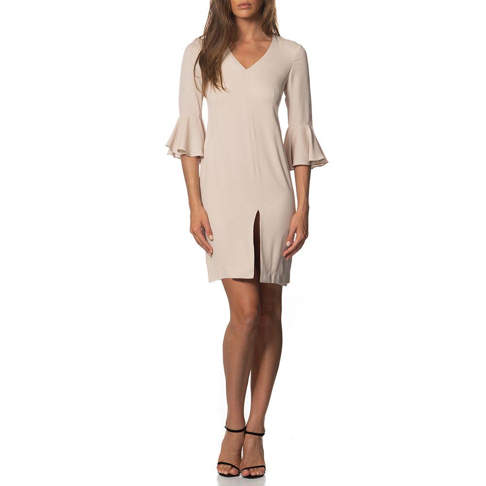 Emilia Ruffle Sleeve Tunic Dress Sand
