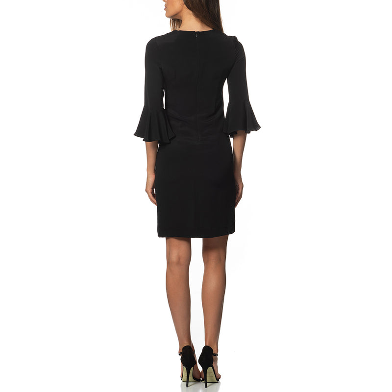 Emilia Ruffle Sleeve Tunic Dress Black