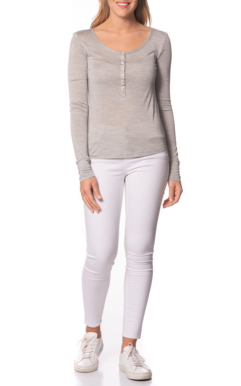 Louisa Everyday Henley Top Grey/Sand