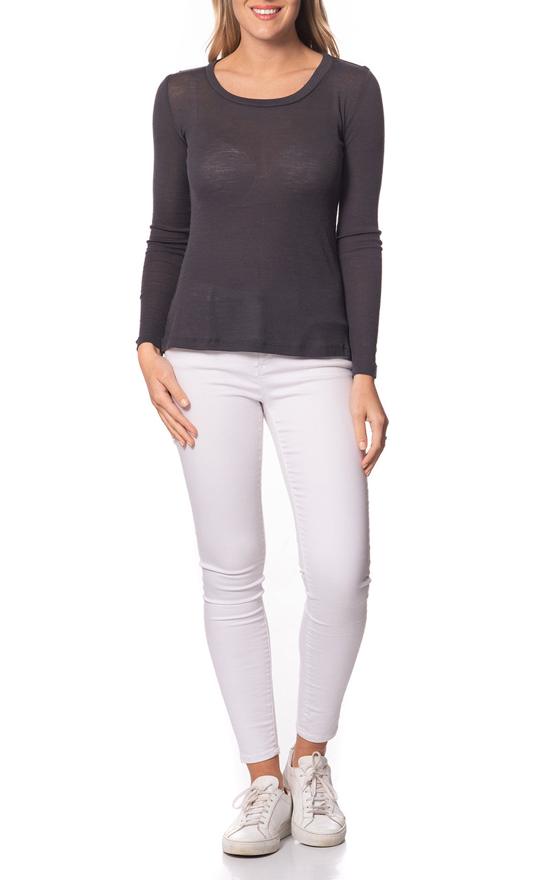 Emma Basic Wool Top Crew Neck L/S