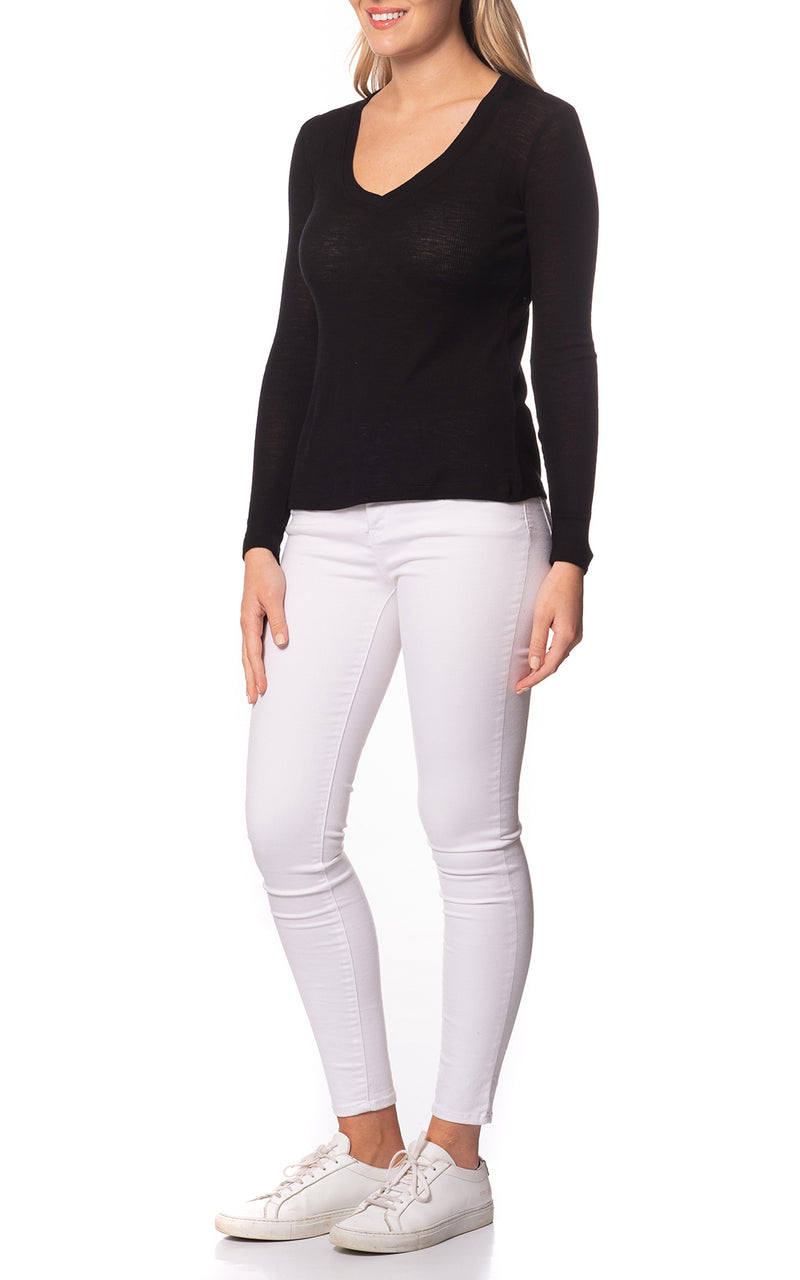 Emma Basic Wool Top V-Neck L/S
