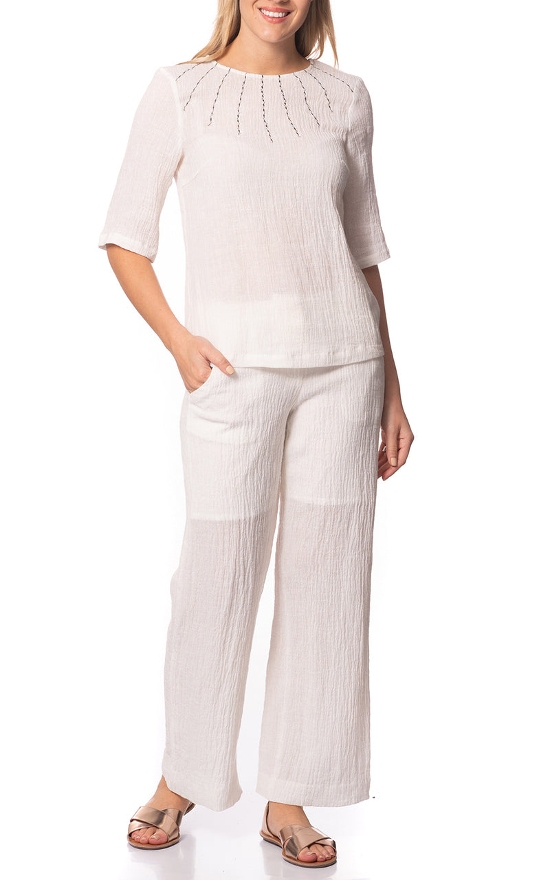 Crinkle Linen Pants Off White