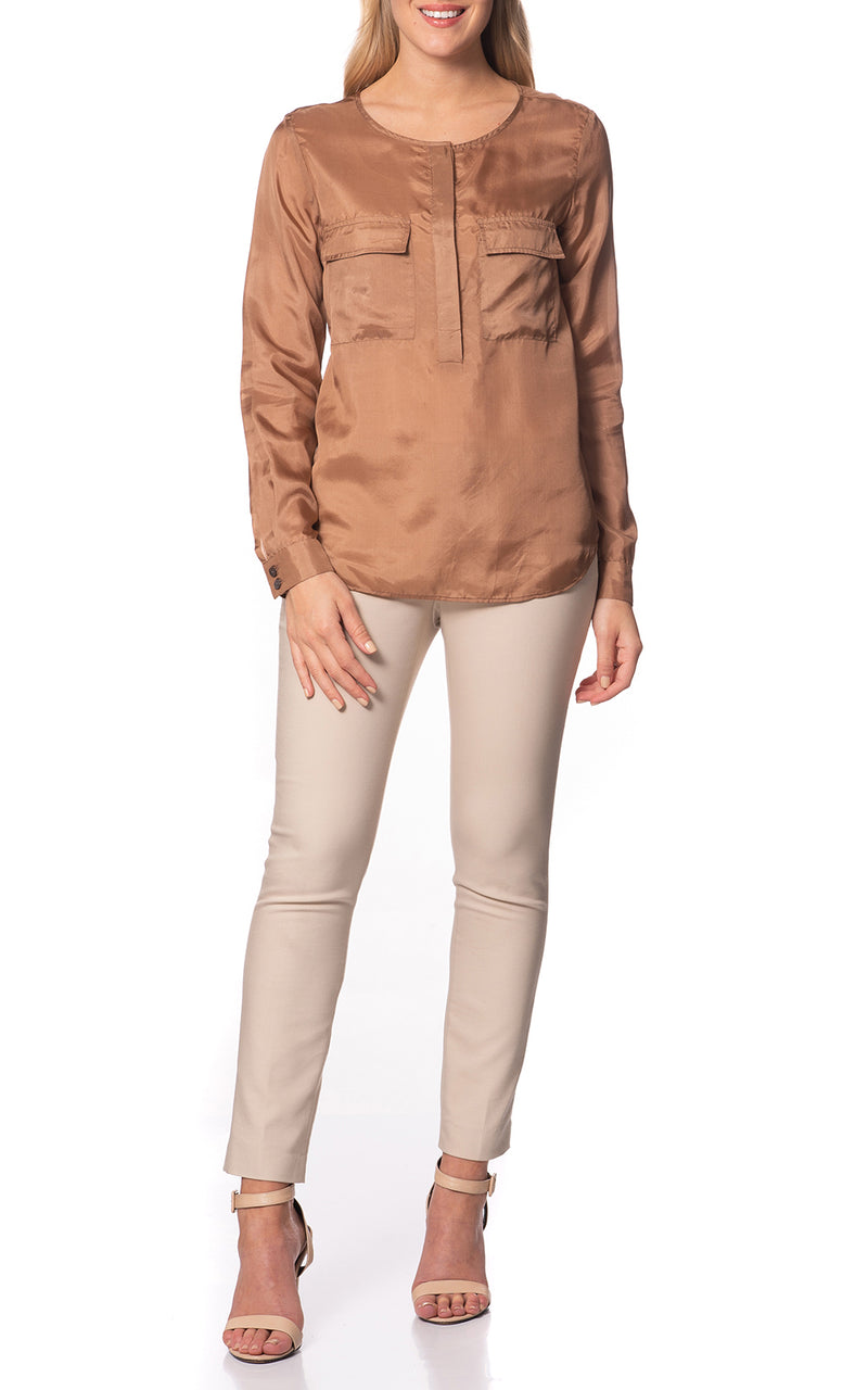 Hazel Silk Blouse With Pockets Bronze