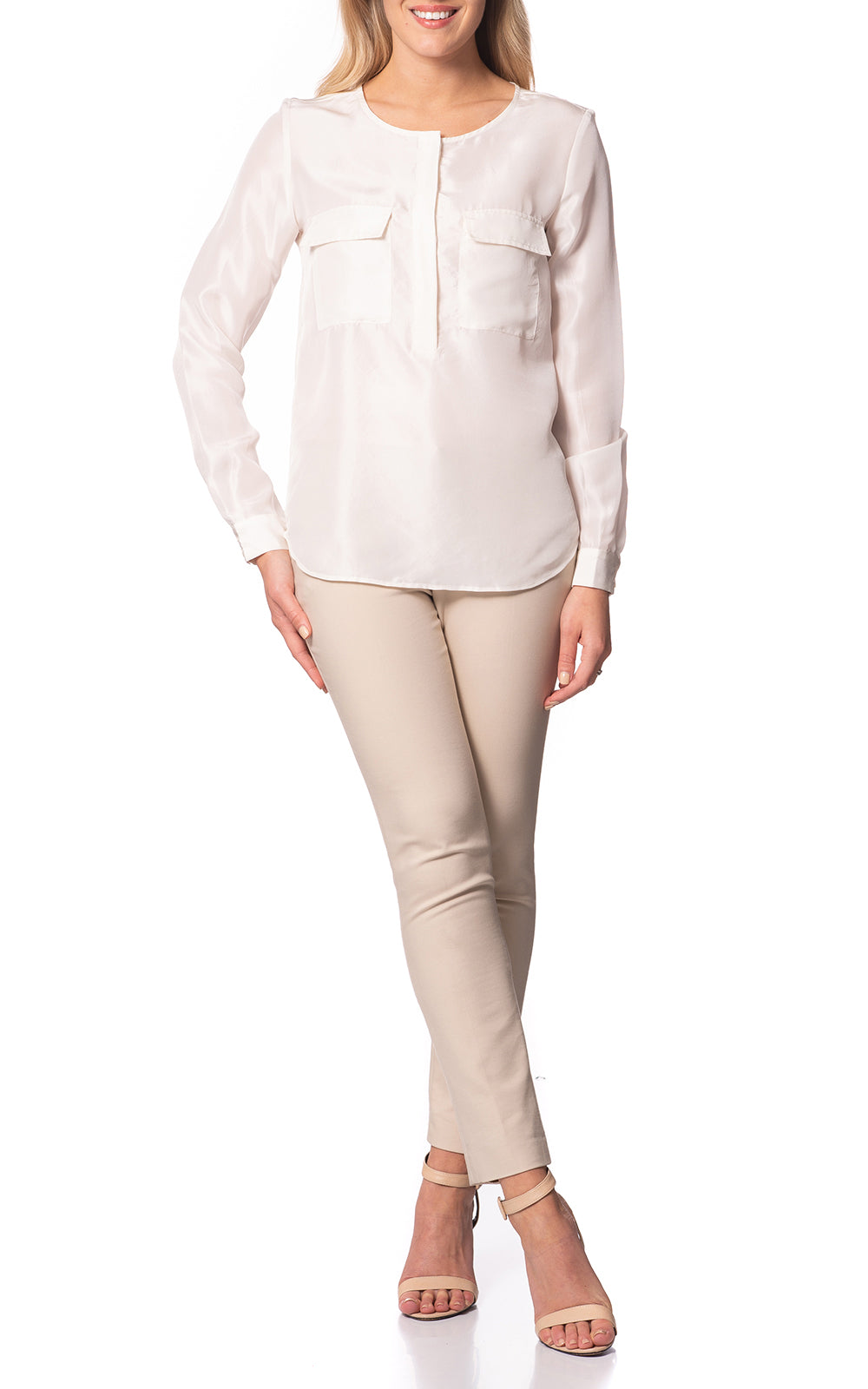 Hazel Silk Blouse With Pockets Bronze White