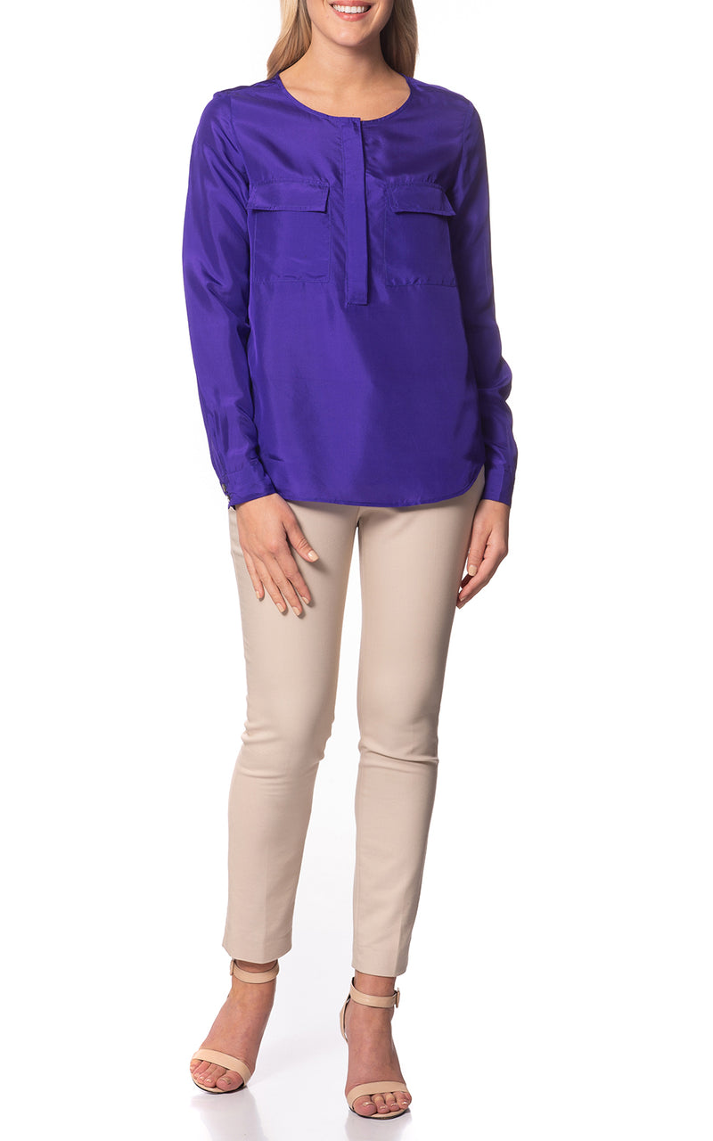 Hazel Silk Blouse With Pockets Violet