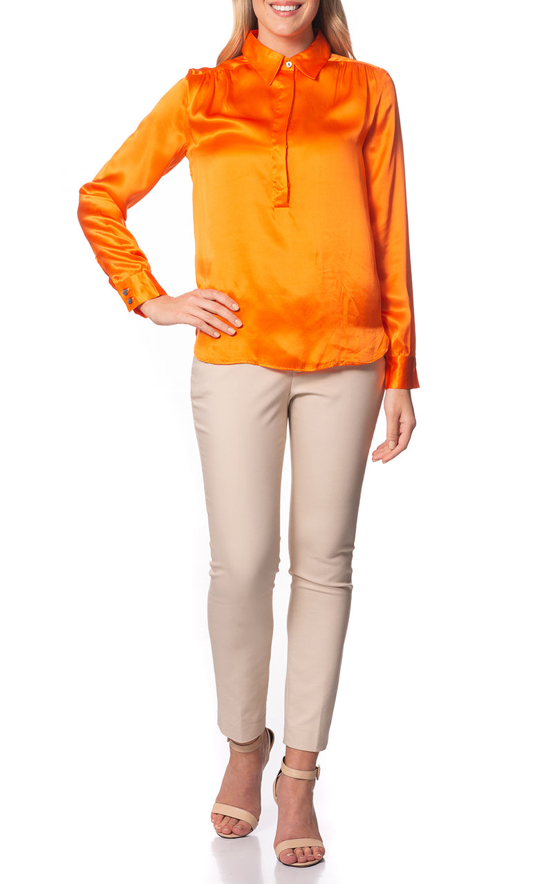 Elena Silk Henley Blouse Orange