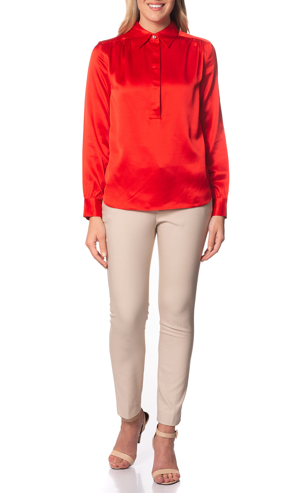 Elena Silk Henley Blouse Orange Poppy