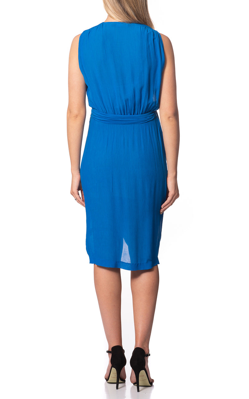 Anna Wrap Silk Dress Azure