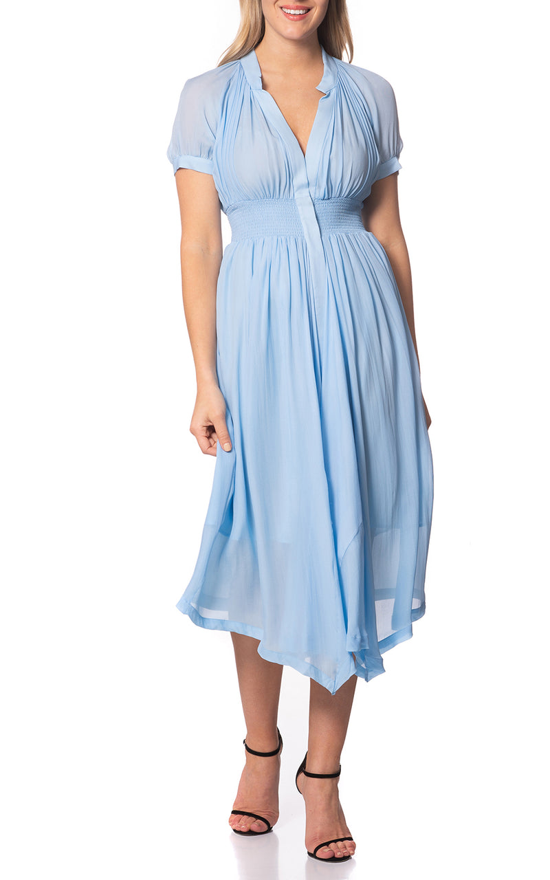 Harper Gather Waist Silk Dress Skyblue