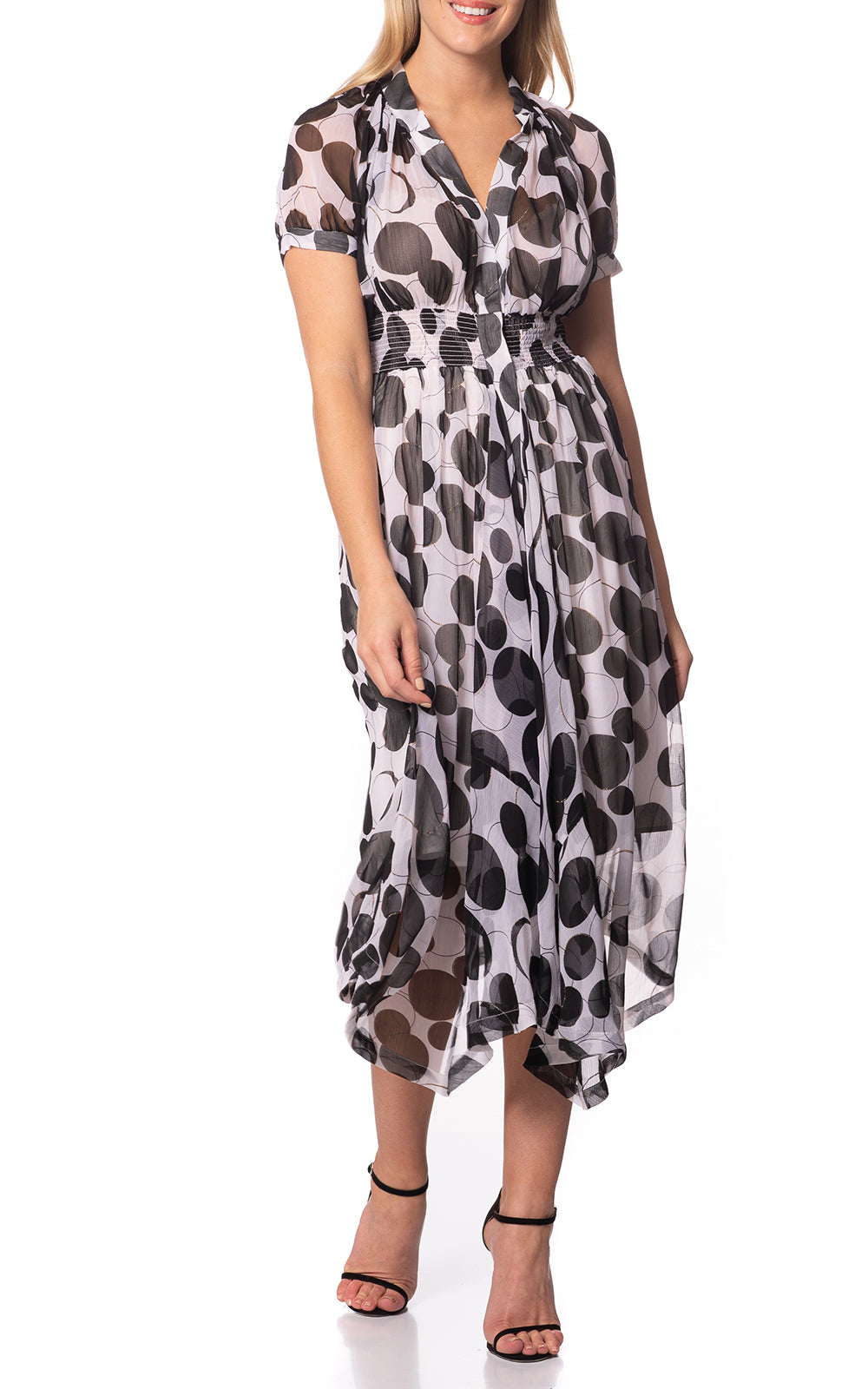 Harper Gather Waist Silk Dress Black Circle
