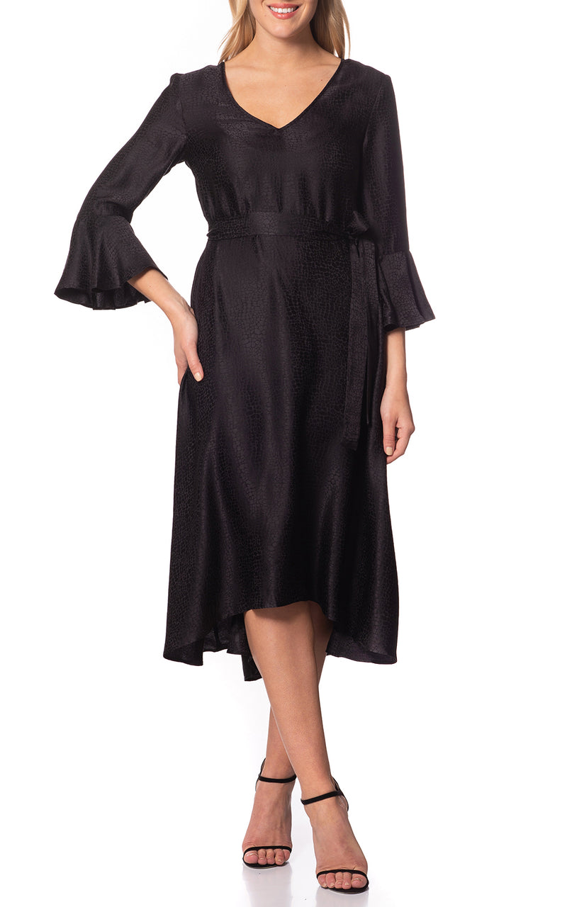 Jessica Ruffle Sleeve High-low Dress Black
