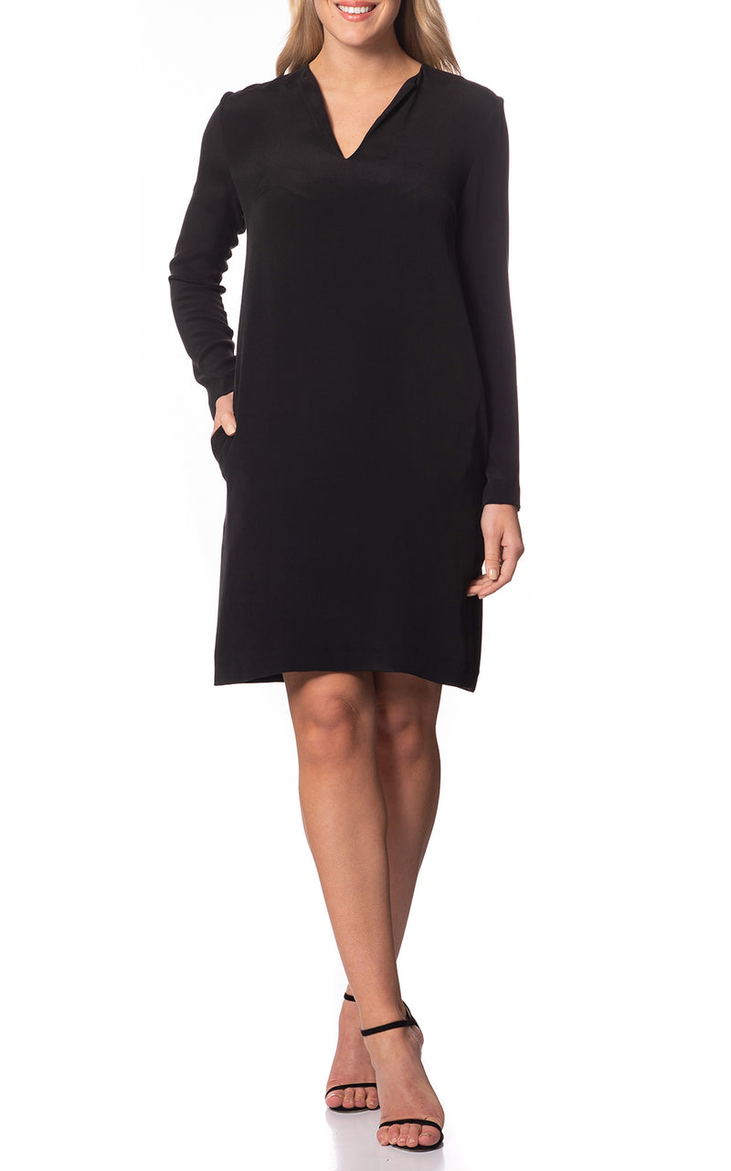 Lumi Long Sleeve Silk Dress Black