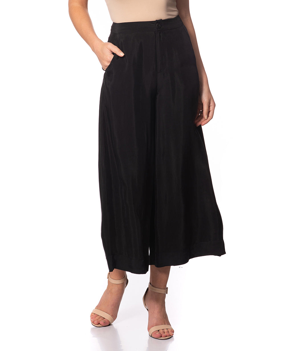 Bella Wide Leg Silk Pants Black
