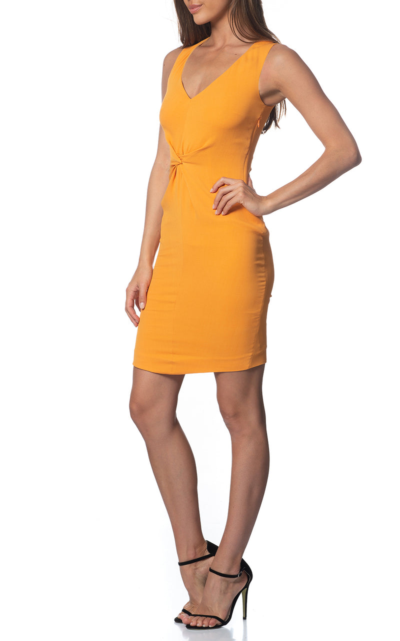 Iris V-front Silk Dress Aspen Gold