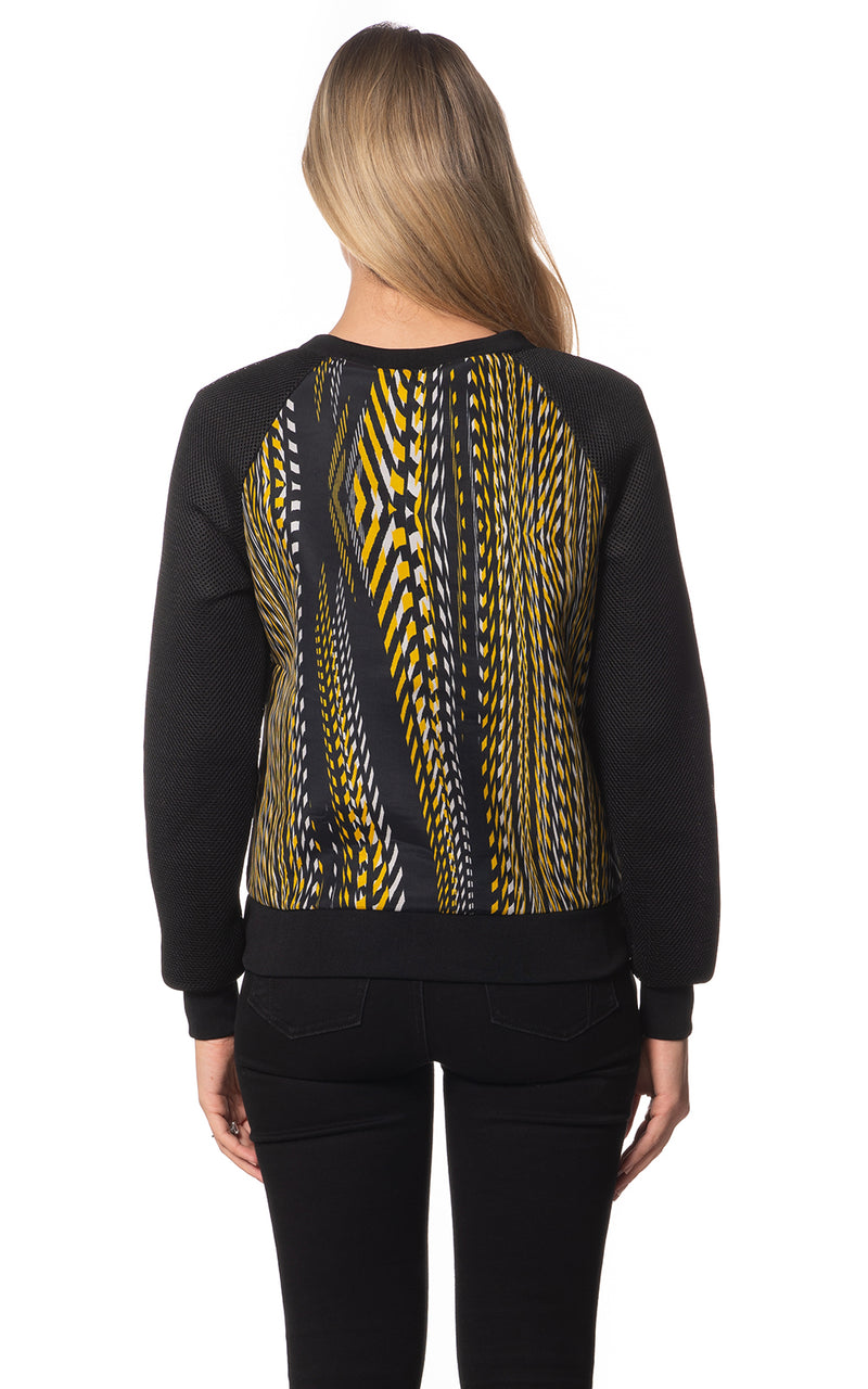 Yellow Tyre Print Mesh Crew Top