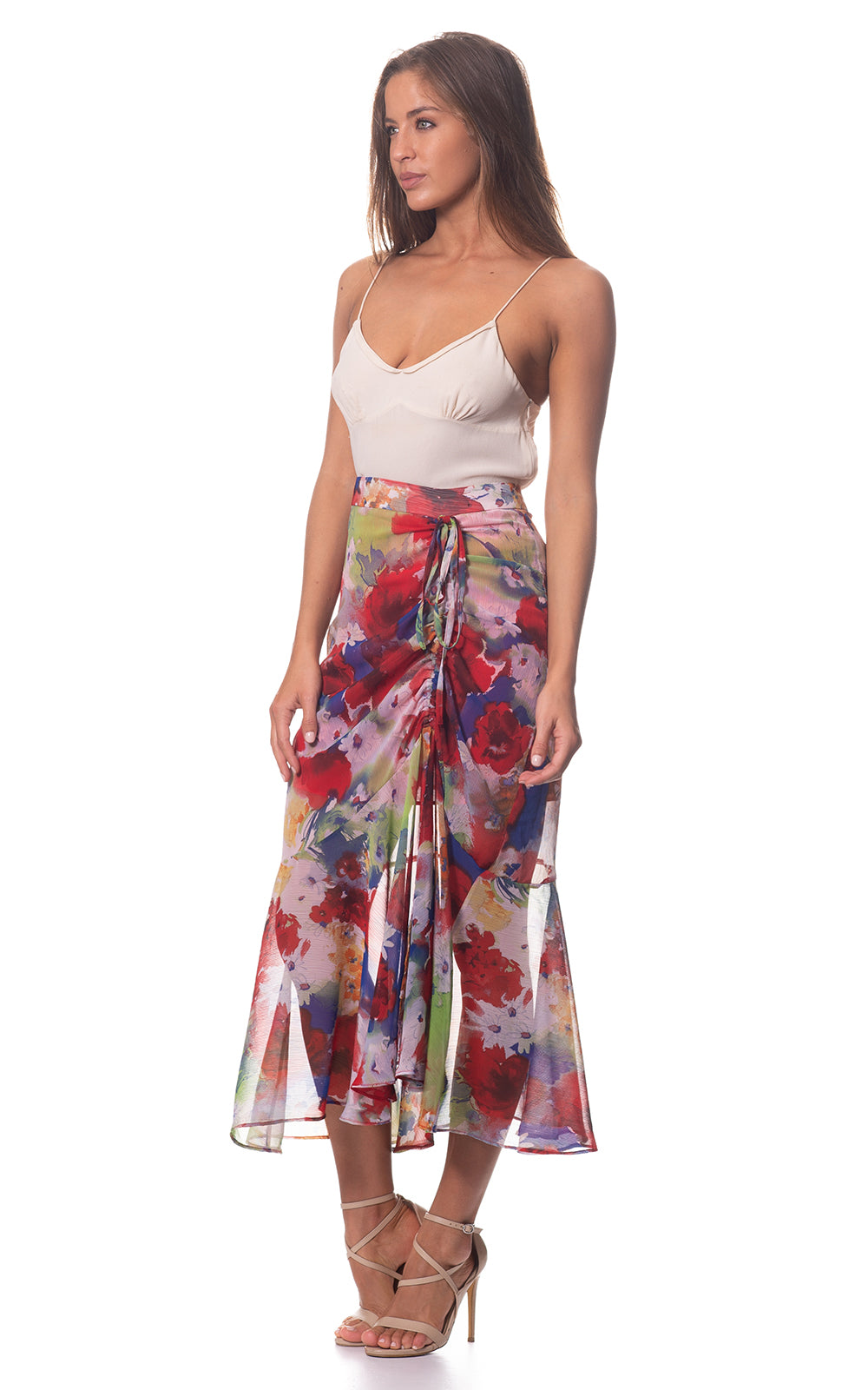 Penny Gather Fishtail Skirt in Multicolour Flora