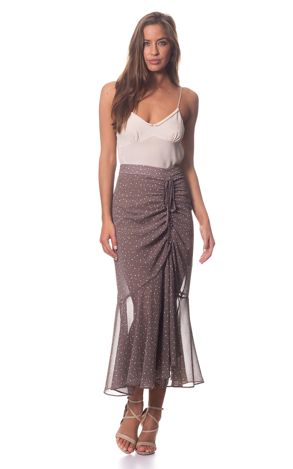 Penny Gather Fishtail Skirt in Taupe