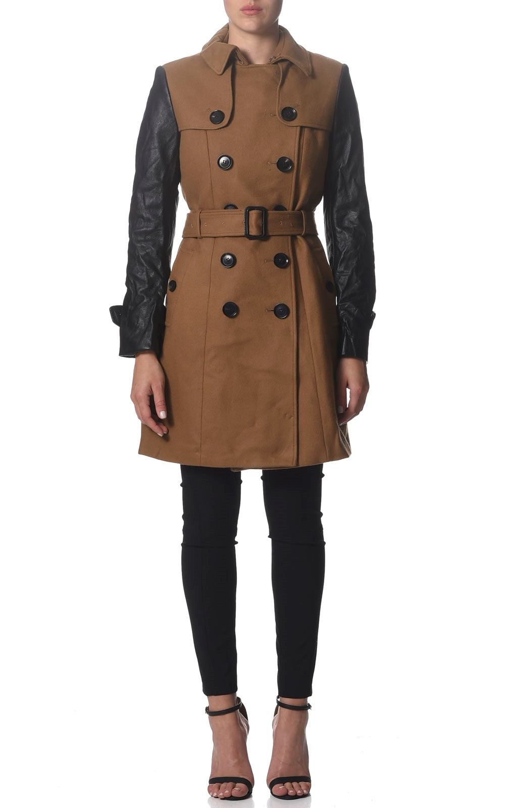 Joy Wool Trench Coat With Contrast Leather Sleeves