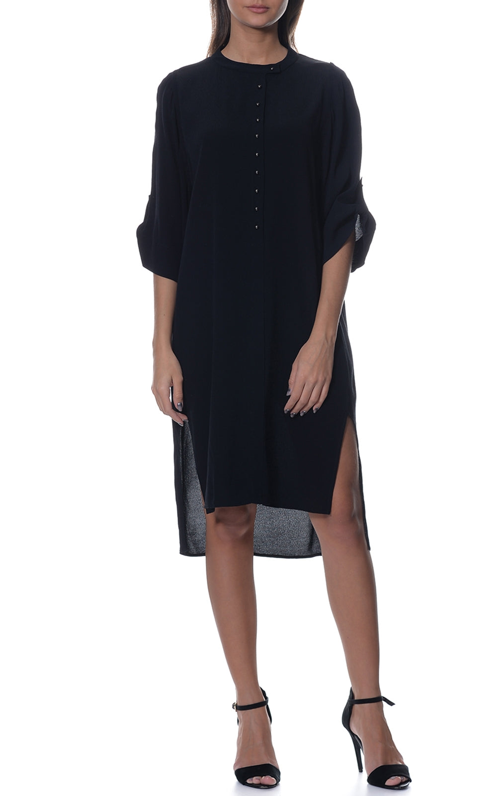 Plain Silk Tunic with Stud Buttons