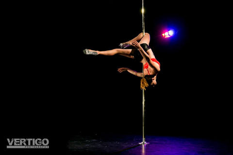 Pole dance outside leg hang