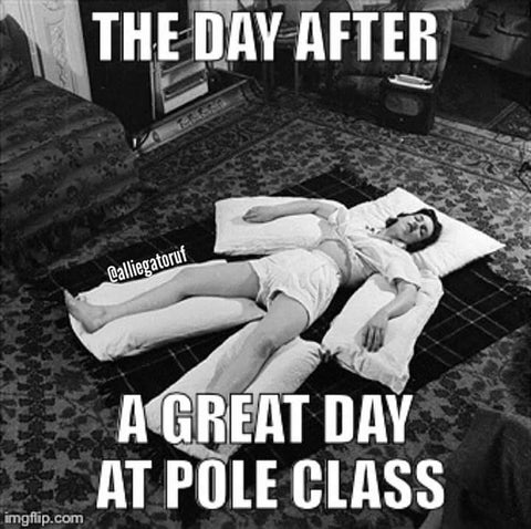 Pole dance meme the day after class
