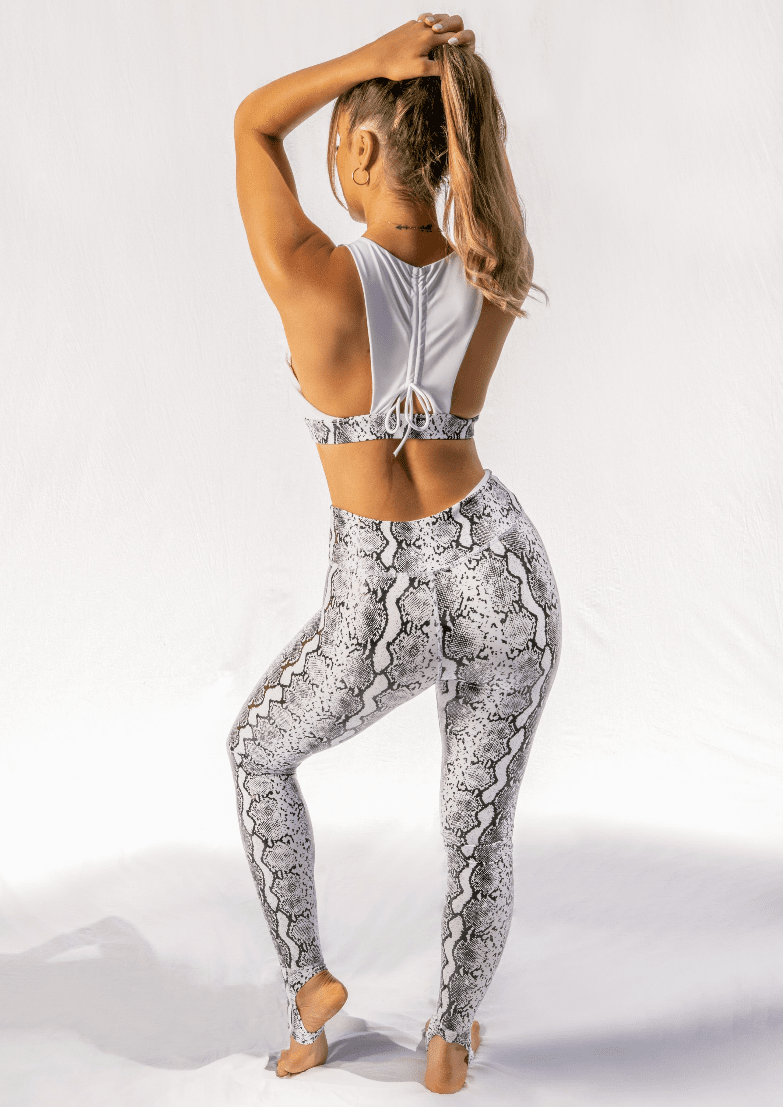 Creatures of XIX Gecko Grip leggings, pole aerial dance, activewear, white, back view