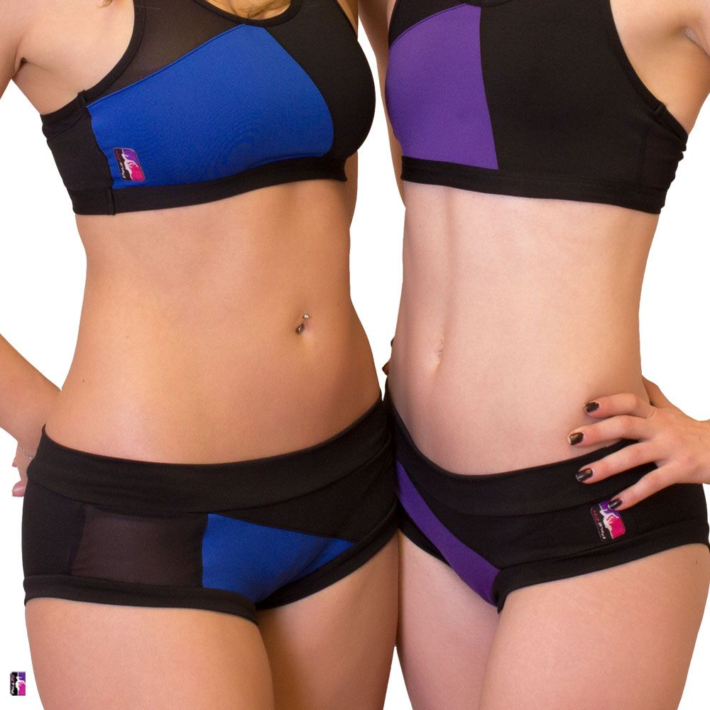 Bad Kitty Geomesh pole dance short, royal blue, front view