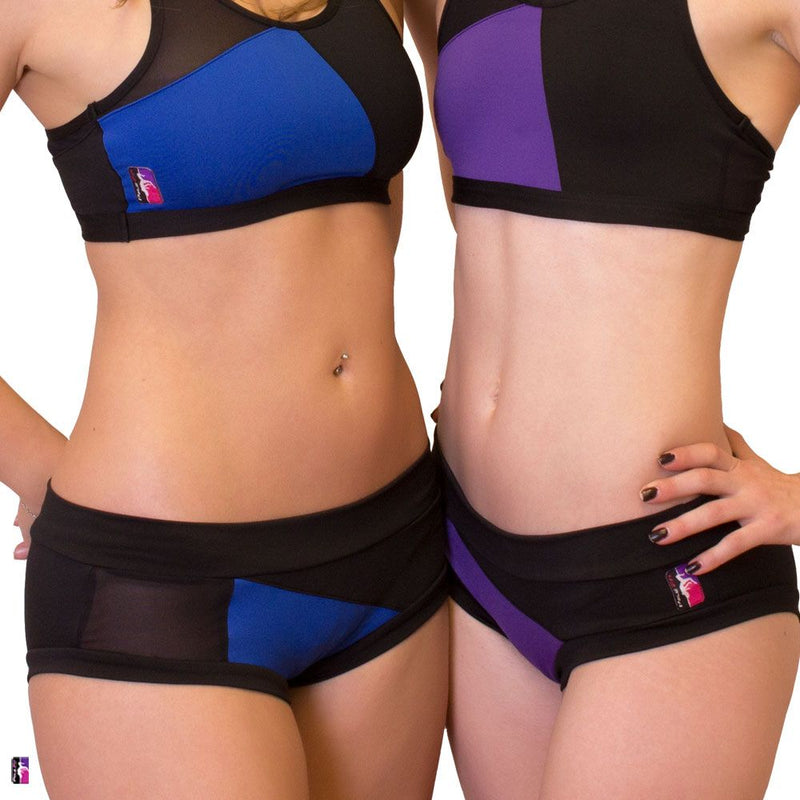 Bad Kitty Geomesh pole dance outfit, purple and royal blue, front view