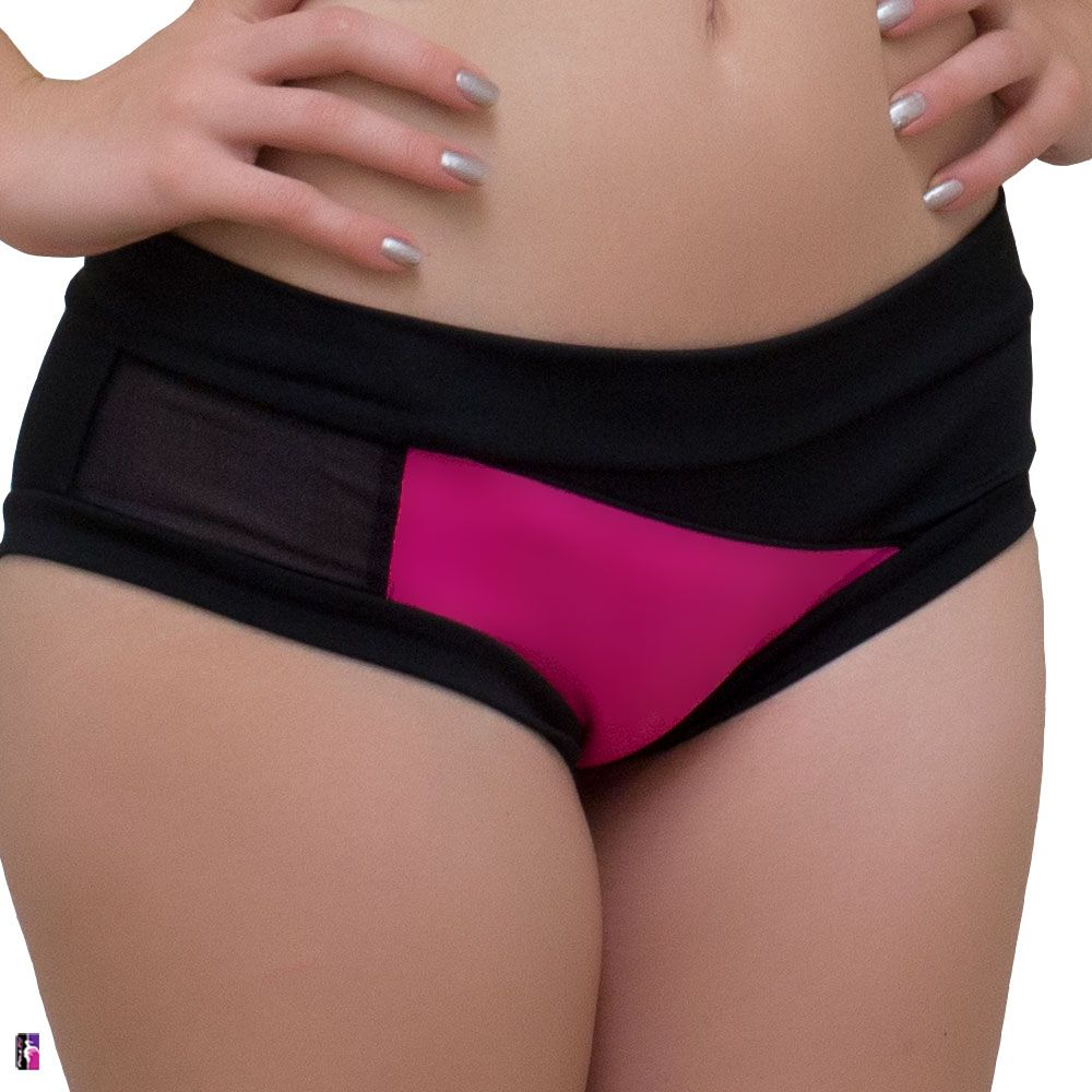 Bad Kitty Geomesh pole dance short, hot pink, front view