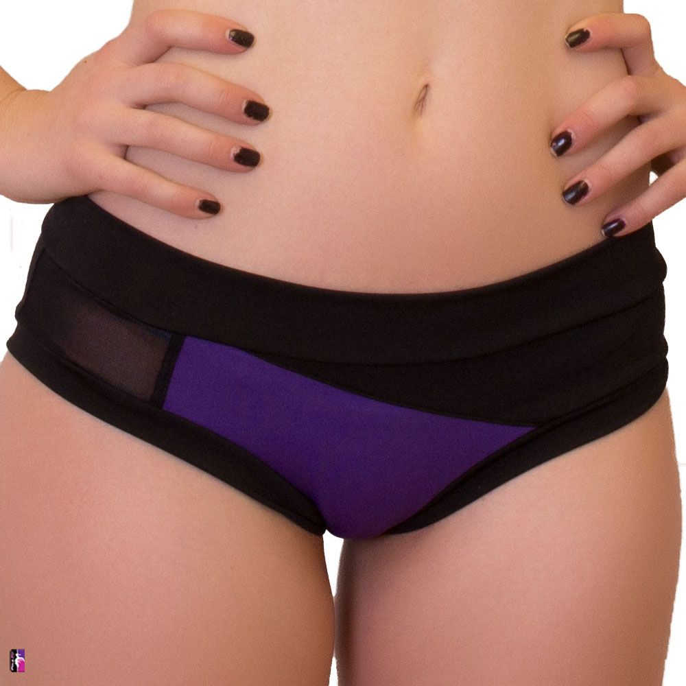 Bad Kitty Geomesh pole dance short, purple, front view