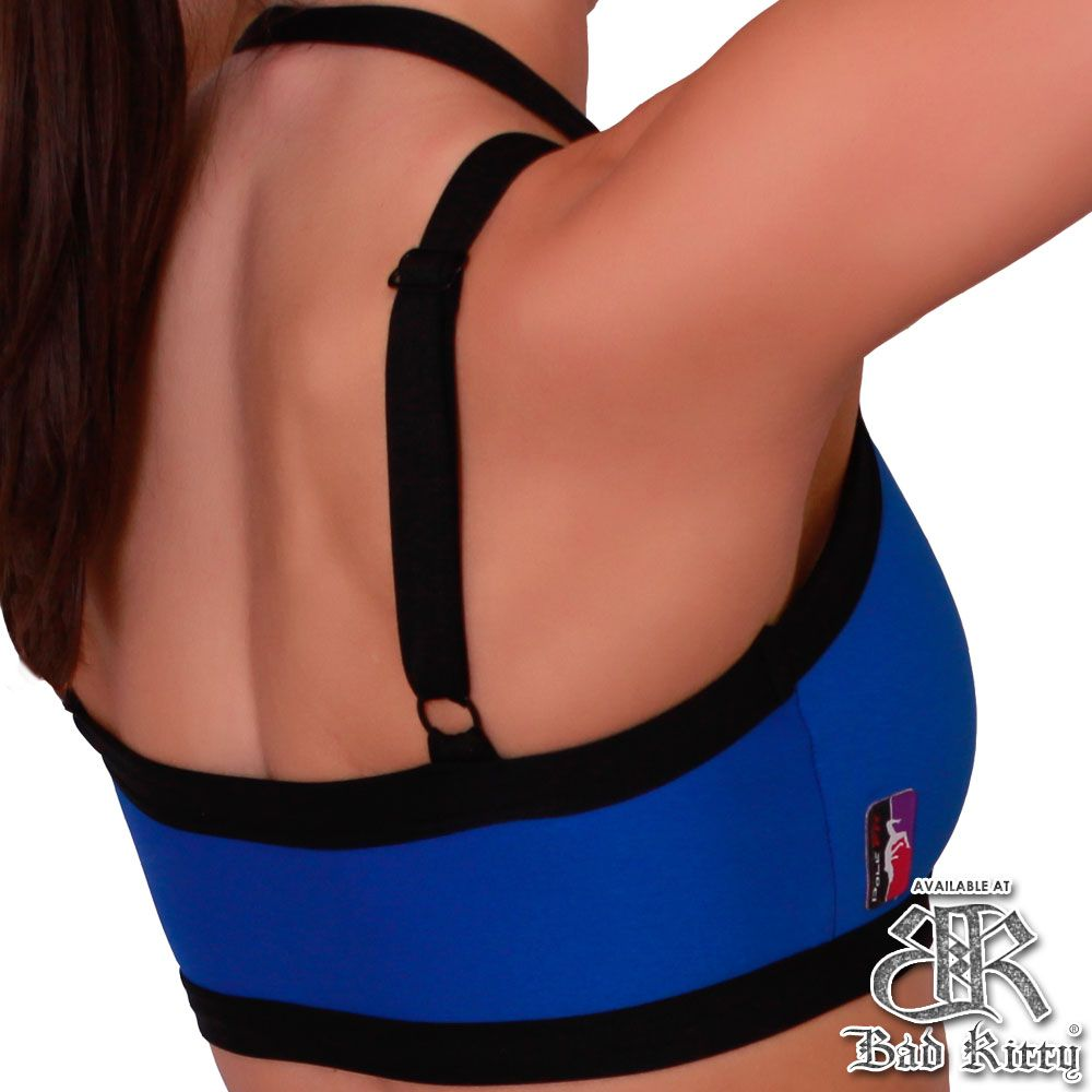 Bad Kitty Peek-A-Boo pole dance top, royal blue, back view
