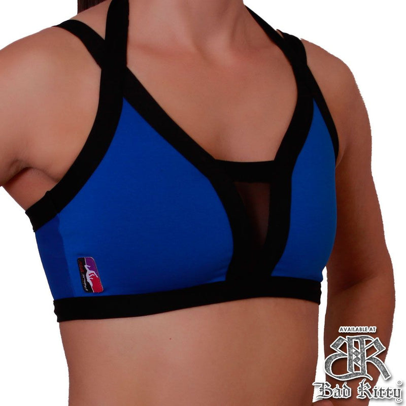 Bad Kitty Peek-A-Boo pole dance top, royal blue, front view