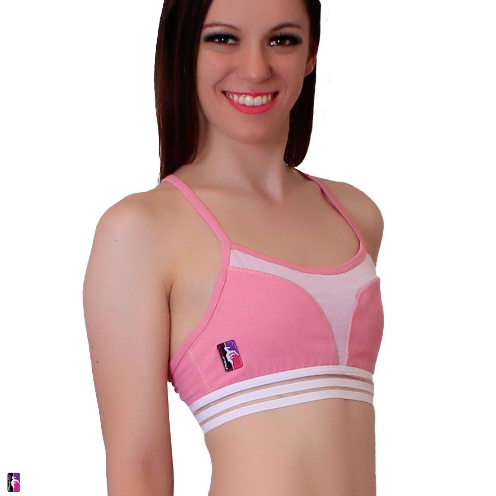 Bad Kitty Petal Mesh pole dance top dusty rose front view