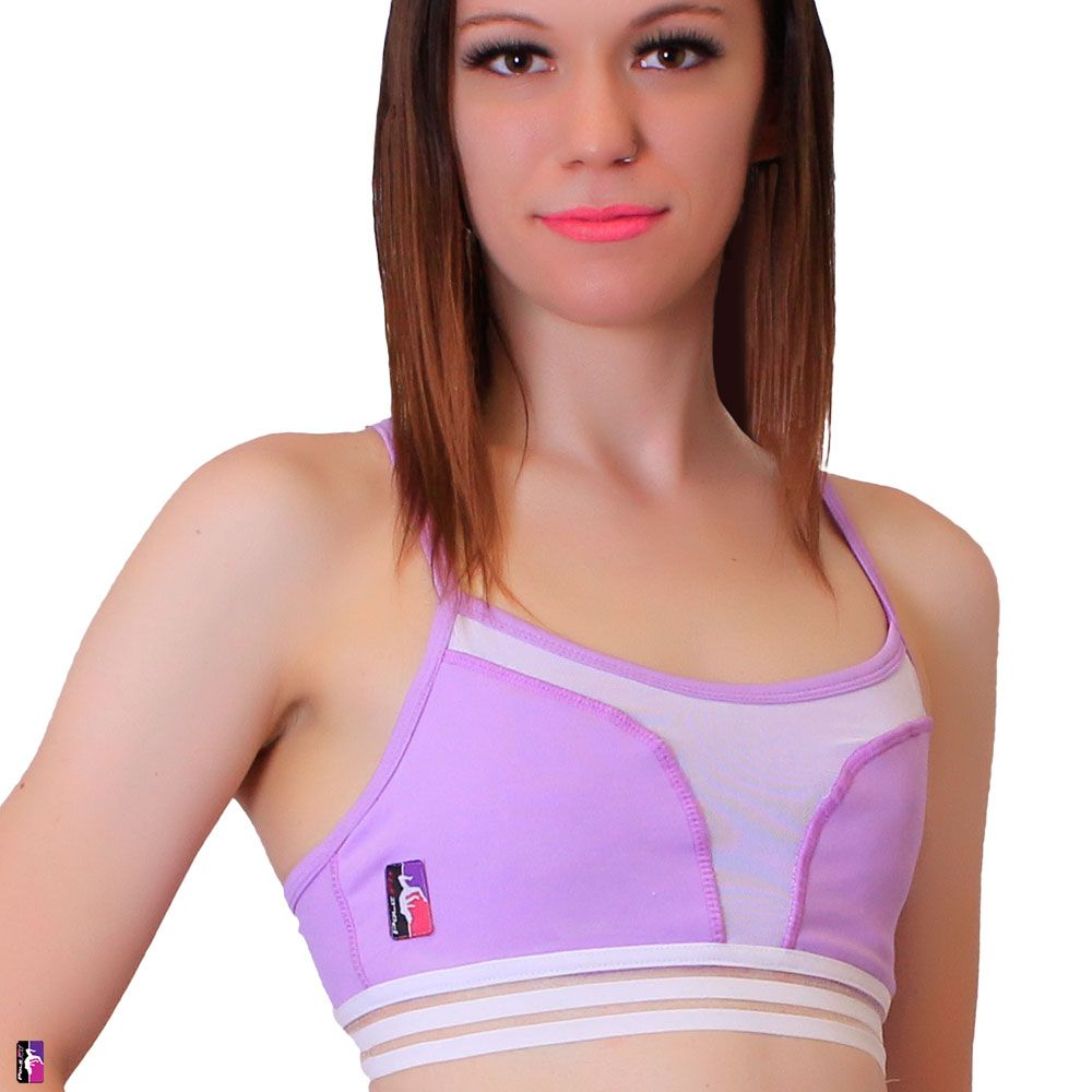 Bad Kitty Petal Mesh pole dance top lavender front view