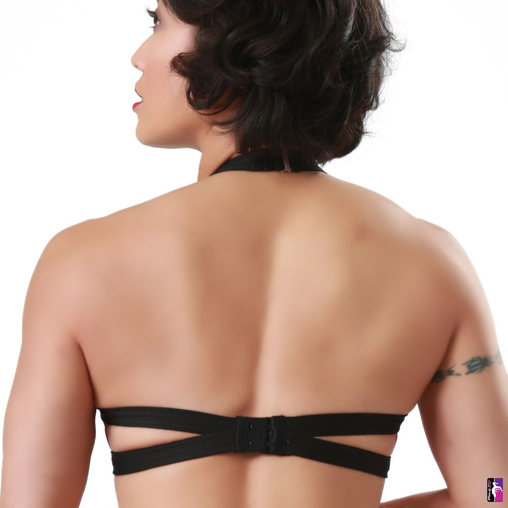 Bad Kitty V-Front pole dance top, black, back view
