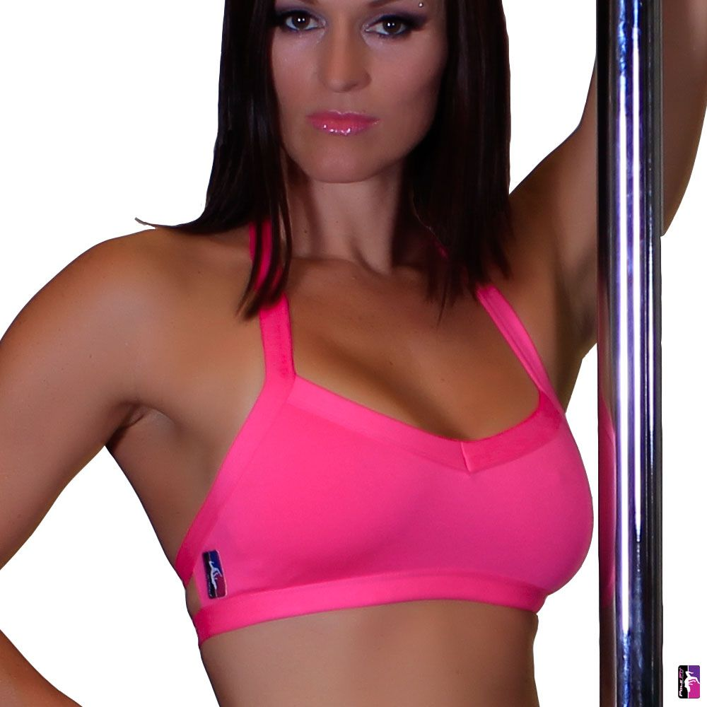 Bad Kitty V-Front pole dance top, hot pink, front view