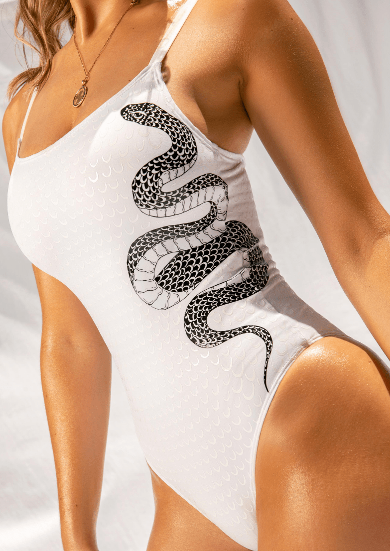 Creatures of XIX Gecko Grip Medusa bodysuit, pole aerial dance, activewear, white, side view